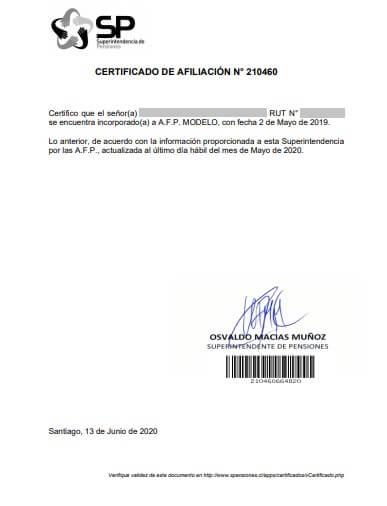 pdf certificado afiliación afp modelo