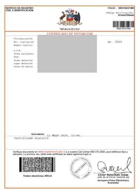 certificado defuncion registro civil